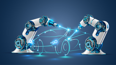 Robot welder in automobile industry vector concept