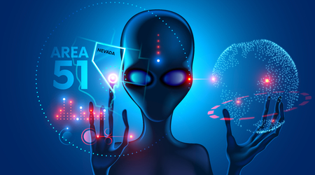 Spettacoli alieni extraterrestri sulla mappa virtuale del luogo dell'incidente UFO nell'area 51 in Nevada. Archivio Fotografico - 92480058