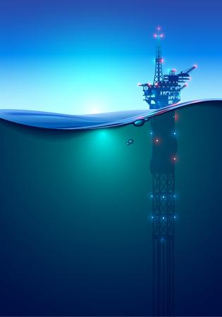 Plataforma de perfuração offshore de petróleo no oceano ao amanhecer. Fundo bonito para a indústria do petróleo. Plataforma de petróleo à luz de lanternas e holofotes. Vista dividida sobre e sob a superfície da água. Spar clássico.