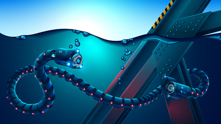 Autonomous underwater robot snake surveys underwater metal constructions.
