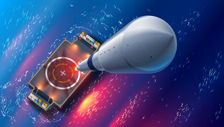 Raketlancering op autonoom ruimtehavenhommenschip in overzees. Bovenaanzicht. ruimteschip neemt de ruimte in. Mariene drijvende cosmodrome. Ruimtevaarttechnologie toekomstig concept.