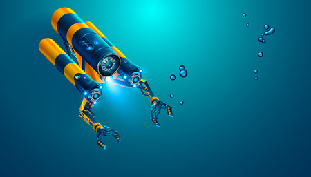 Autonomous underwater rov with manipulators or robotic arms. Modern remotely operated underwater vehicle. Fictitious subsea drone or robot for deep underwater exploration and monitoring sea bottom.