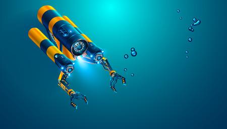 Rov submarino autónomo con manipuladores o brazos robóticos. Moderno vehículo subacuático de operación remota. Drones o robots submarinos ficticios para la exploración submarina profunda y el monitoreo del fondo marino. Ilustración de vector