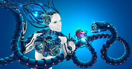 Hermosa mujer robot con rostro humano en perfil, manos mecánicas. La cabeza del robot y el cerebro artificial están conectados por cables al sistema cibernético. Inteligencia artificial sometida a ciberataques.