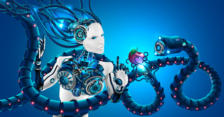 Beautiful robot woman with human face in profile, mechanical hands. Head of robot and artificial brain are connected by cables to cybernetic system. Artificial intelligence subjected to cyber attack. Illustration