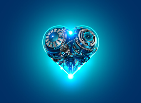 Background card Valentine's day in style, technology, robots, industry, cybernetics and science. Mechanical heart, metal mechanism in the form of heart on a blue background lights up. Stock Illustratie