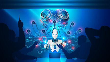 Artificial intelligence teaches business employees. Robot with artificial brain is connected to neural network for analysis of business data. Businessmen at meeting and discuss the strategy work.