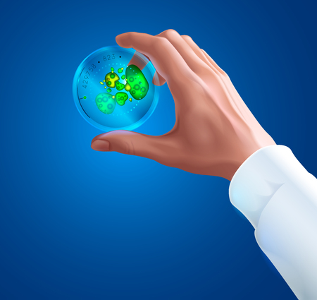 Hand of a scientist in white coat holding Petri dish with colony of bacteria or fungi. Biotechnology or Microbiology concept. Science experiment. Round glass test tube Petri dish to culture bacteria.