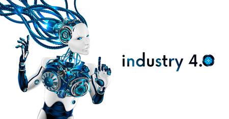 Mujer hermosa de la robusteza aislada en el fondo blanco. Robot de inteligencia artificial conectado con cables a red. El cyborg tiene rostro y manos humanas. Ilustración de vector
