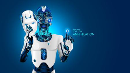 Künstliche Intelligenz zerstört die Menschheit. Roboter entfernt die anthropomorphe Maske. KI gibt den Befehl zu zerstören. Schlechter mechanischer Roboterkopf mit brennenden Augen. Futuristische Scifi Abbildung.
