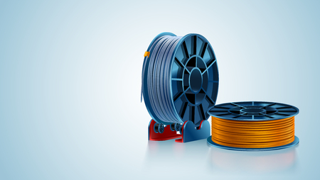 3d printing filament spool or coil on holder on color background. Colored plastic material for 3d printer. Vector illustration.
