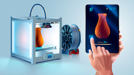 White 3D printer with filament spool. Additive technology for hobby 일러스트