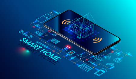 Smart home controlled smartphone. Internet of things technology of home automation system. Small house standing on screen mobile phone and wireless connections with icons home electronics devices. iot Vettoriali