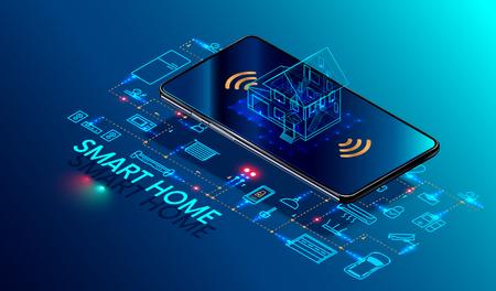 Teléfono inteligente controlado por el hogar inteligente. Internet de las cosas tecnología de domótica. Pequeña casa de pie en la pantalla del teléfono móvil y conexiones inalámbricas con iconos de dispositivos electrónicos para el hogar. iot