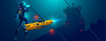 Fondo marino de exploración robot autónomo submarino. Drone submarino con buzo explora el lugar del naufragio del barco.