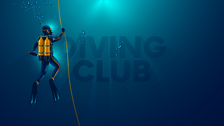 One scuba diver underwater. Back view. Diver look on big logo diving club underwater. Diver dives to the bottom of the sea, holding the rope, The suns rays underwater. Scuba diving background.