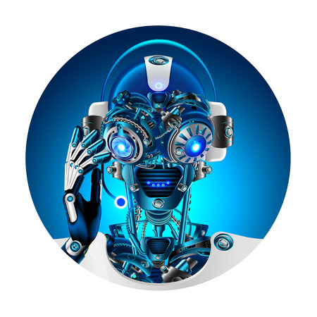 Robot face with headphone and microphone answering questions. Avatar or user pic technical support. Cyborg or bot with Artificial intelligence. 일러스트