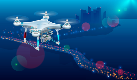 Drone with video camera In The Air Over City Roadway. Unmanned Aircraft System or UAV monitoring street traffic or photography urban landscape in the Night . Stock Illustratie