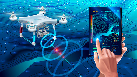 Drone or quadcopter with camera 3d scanning land. Drone fly over landscape and make geological mapping of the field. Land forms display on digital tablet in hands, modern agricultural technology.