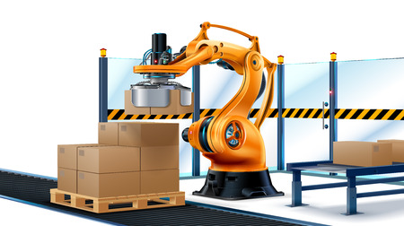 Robot stacking Systems, Robotic arm loading cartons on pallet. Vector illustration.
