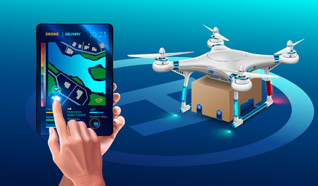 Postal Drone Landed with carton box Package. Quadcopter courier. Technology autonomous Delivery shipping by air. The hands hold tablet and specifies a point on the map Delivery.