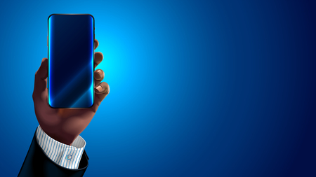 African American or Asiatic hand of the businessman in business suit holding a modern smartphone. Mock up blank. Empty screen of mobile application.