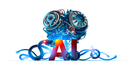 Banner about artificial intelligence or robotics brain with letters ai. Machine learning technology. Future concept background