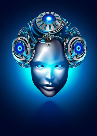 Robot woman face or head. Robotic female with beautiful vintage hairstyle