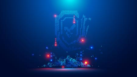 Icon of the digital shield broken. Symbol digital cyber security crack hacking. Web crime or virus attack. Symbol of protection damaged. Hacking concept.