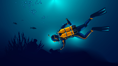 Scuba diver exploring the seabed. Underwater archaeologist found an ancient jug underwater. Illustration