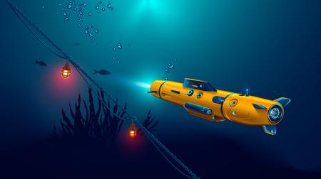 Dron submarino autónomo o robot con cámara de exploración del fondo marino. Fondo marino bajo el agua y rayos de sol brillando a través del agua. Ilustración de vector
