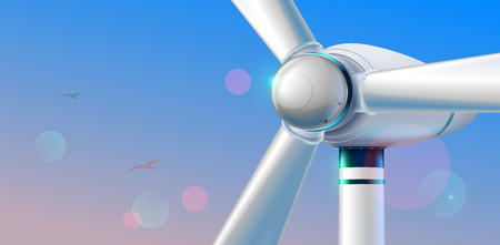Wind Turbine close up. Abstract wind power station producing renewable alternative energy on clear sky background in the morning. Aerial viewing.