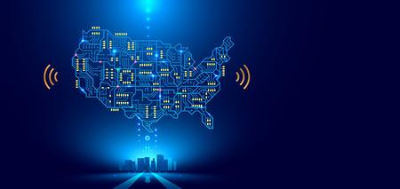Mapa de la red de comunicación abstracta Estados Unidos o América como una placa de circuito impreso. Ciudad inteligente conectada con el país. Conceptos tecnológicos