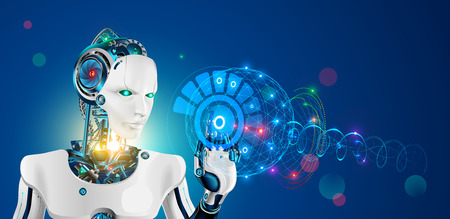 Robot with artificial intelligence. Wise cyborg with higher or supreme mind working on abstract hud virtual interface. Future science concept. Industrial revolution 4.0