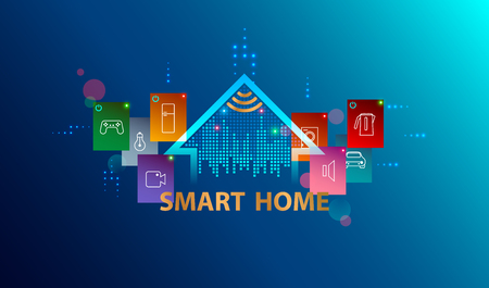 Smart home system. Internet of things concept. Header or banner with  automation device house. Smart Technology background.