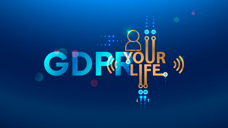 GDPR concept illustration. General Data Protection Regulation abbreviation. Law about personal data protection. Composition from letters GDPR and icons. 일러스트
