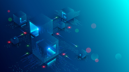Banner de concepto blockchain. Conexión de bloques digitales isométricos entre sí y formas de cadena de cifrado. Bloques o cubos, la conexión consta de dígitos. Fondo de tecnología abstracta.