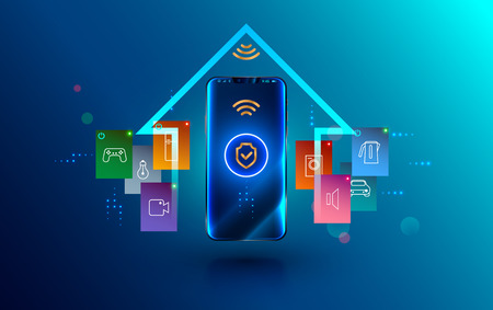 Smartphone connected with smart home via protected wireless connection. Shield symbol security of iot or internet of things on screen phone. House automation technology.