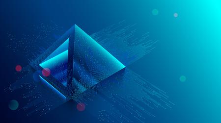 concepto de blockchain. Minería de moneda digital. Fondo de tecnología de Big Data. La pirámide financiera consta de dígitos.