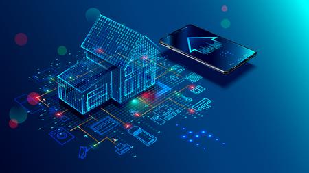 Concetto IOT. Connessione domestica intelligente e controllo con dispositivi tramite rete domestica. Internet delle cose scarabocchia la priorità bassa.