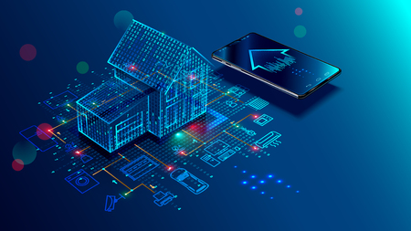 IOT concept. Smart home connection and control with devices through home network. Internet of things doodles background. Иллюстрация