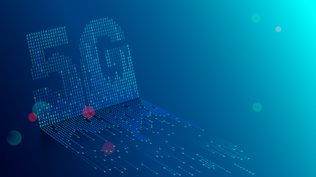 Contexte de la technologie 5G. Les données numériques sous forme de chiffres connectés les uns aux autres et forment le symbole 5G sur fond bleu. Réseaux mobiles et Internet de nouvelle génération.