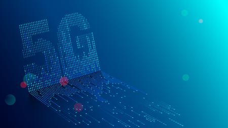 Fondo de tecnología 5G. Los datos digitales como dígitos se conectan entre sí y forman el símbolo 5G sobre fondo azul. Redes móviles e internet de nueva generación.