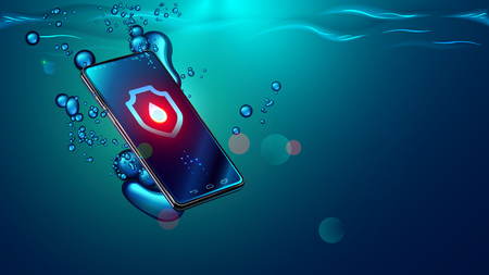 Black smartphone fall in water. Mobile smart phone sinks underwater surface. Electronic waterproof or water resistance phone dive in sea with bubbles Icon waterproof shield with drop on screen devices