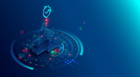Fondo de concepto de sistema de seguridad para el hogar inteligente. Software de protección de IOT o internet de las cosas. Ciberseguridad de los dispositivos domésticos. Hogar isométrico 3D del escudo protegido de dígitos de luces.