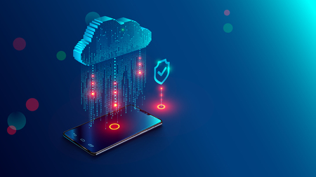 Cloud Computing Concept. Data protected exchange on smart phone or other mobile device and online storage. Cloud Technology illustration. 일러스트