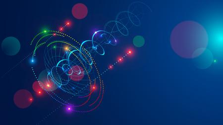 Streszczenie sygnału radiowego transmitowane anteny satelitarnej. Sygnał kierunkowy promieniuje na niebie w kształcie spirali i kropek. Tło tech abstrakcji. Koncepcja komunikacji satelitarnej. Ilustracje wektorowe