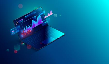 Éléments d'analyse financière et d'infographie commerciale sur un ordinateur portable à écran. Graphiques financiers, données d'analyse et graphiques d'investissement et de commerce. Vecteur isométrique 3D. Concept d'entreprise.