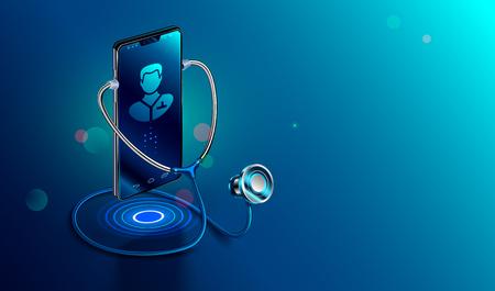 Concepto de doctor en línea. Icon Doctor a través de la pantalla del teléfono con estetoscopio comprueba la salud. Comunicación clínica médica en línea con el paciente. Ilustración isométrica del vector.