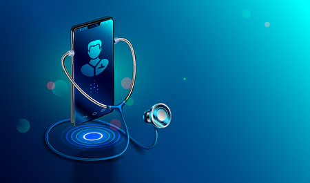 Doctor online concept. Icon Doctor through the phone screen using stethoscope checks health. Online medical clinic communication with patient. Vector isometric illustration.